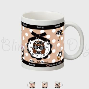 【MC003】マグカップ:黒おリボン枠 サングラスCOCOちゃん&アイテム ベージュ×白ドット