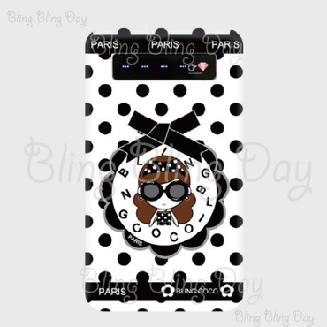 【MB001】モバイルバッテリー:黒おリボン枠 サングラスCOCOちゃん ライン入り白×黒ドット