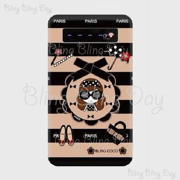 【MB003】モバイルバッテリー:黒おリボン枠 サングラスCOCOちゃん&アイテム ベージュ×黒ボーダー
