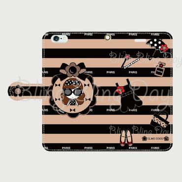 【TC005】手帳型スマホケース:カメリアおリボン枠 サングラスCOCOちゃん ベージュ×黒ボーダー( 水玉リボンバッグ)