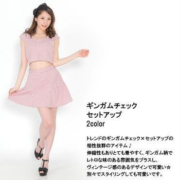 ギンガムチェックセットアップ スカート 半袖 トレンド(sc1662)