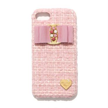 【iPhone7/8】ビジューリボンツイードケース