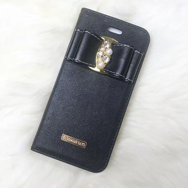 レザーリボン黒手帳型ケース