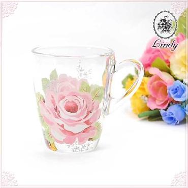 ■Lindy(リンディ)シャルール ガラスマグカップ 【薔薇雑貨 タンブラー コップ ガラスマグ ガラス食器】