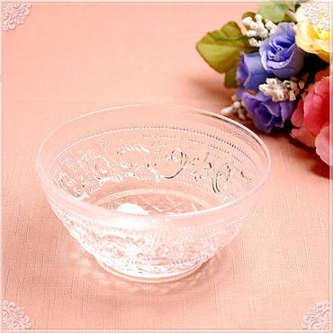 【リーズナブルプライス!】■ガラスボウルSサイズ【カットガラス カットグラス アンティーク 薔薇雑貨 カット クリスタル レトロ食器 ガラスボール】