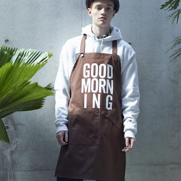 GOOD MORNING STAFF APRON -BROWN-