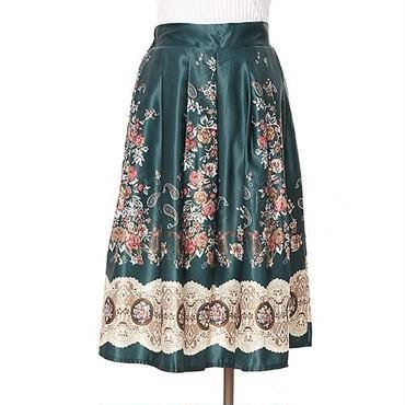 [0556sk]花柄サテンフレアースカート