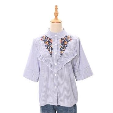 [0825tp]フリル刺繍シャツ