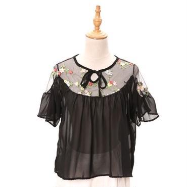 [0816tp]花刺繍チュールブラウス