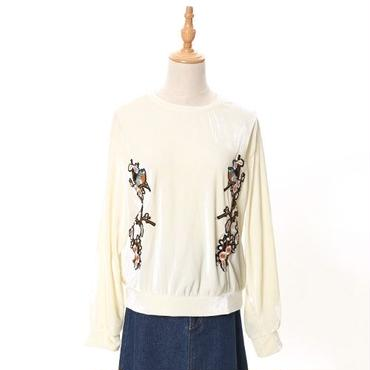 [0663tp]お花刺繍ベロアプルオーバー