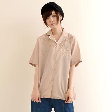 [0830tp]同色花刺繍シャツ