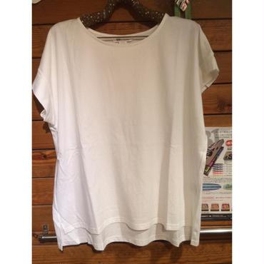 袖プリーツTシャツ(白)