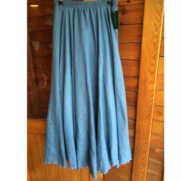 フレアロングcottonスカート(ブルー)