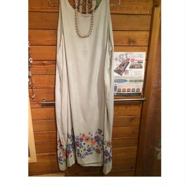 レディース、裾花柄N/Sワンピース、グレー