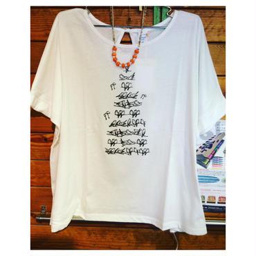 後ろリボン鳥さんTシャツ(白)