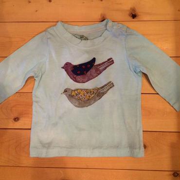 鳥さん長袖Tシャツ(サックス)