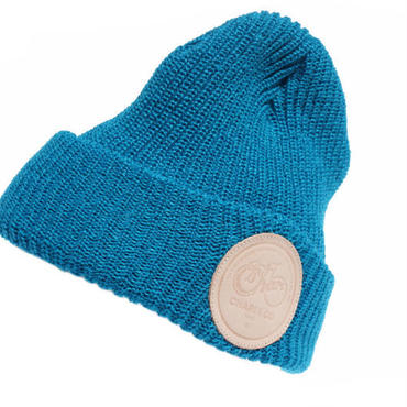 LEATHER PATCH MC RIBBED WATCH CAP TURQUOISE