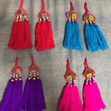 Tribal long tassel earrings