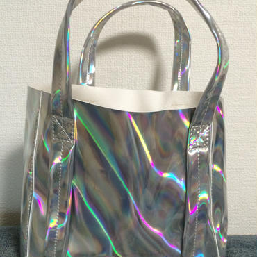 Mini mirror holographic tote bag