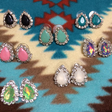 bling bling teardrop studs earrings
