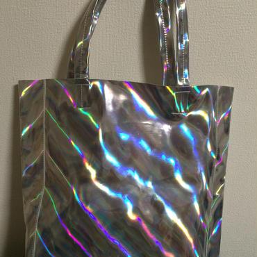 Mirror holographic shoulder tote