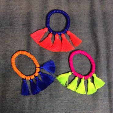 Neon tassels bracelet