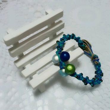 ☆sale☆ブルーのミラクルビーズ付きブレスレット