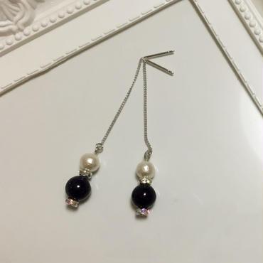 紫金石&コットンパールの高品質チェーンピアス