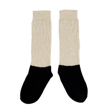 tinycottons hairy color block high socks(beige/darknavy)