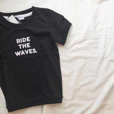 ARCH&LINE SLUB RIDE  THE  WAVE  TEE(BLACK)kids