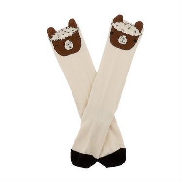 tinycottons llamas heads high socks(beige/brown)