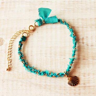 Shell Silk Ribbon Bracelet -Turquoise Blue-