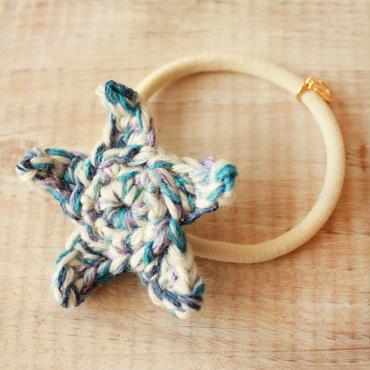 Starfish Knit Hair-gum -Blue×White-