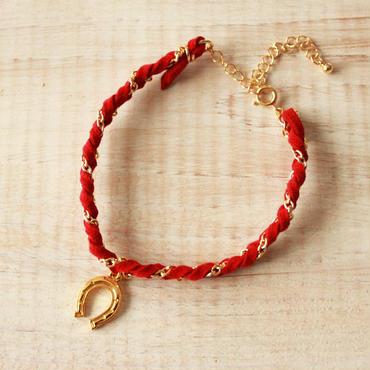 Horseshoe Suede Bracelet -Red-