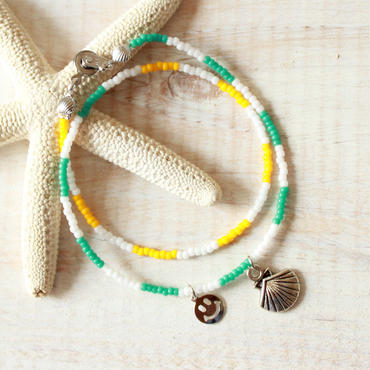 Double Beads Bracelet -Green×Yellow-