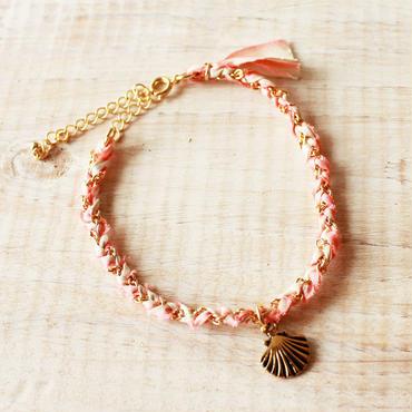 Shell Silk Ribbon Bracelet -Pink-
