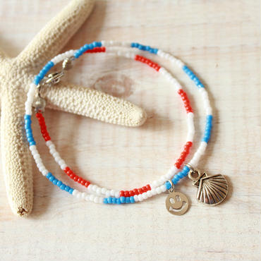 Double Beads Bracelet -Orange×Blue-