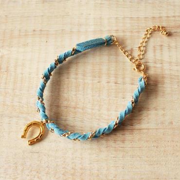 Horseshoe Suede Bracelet -Light Blue-
