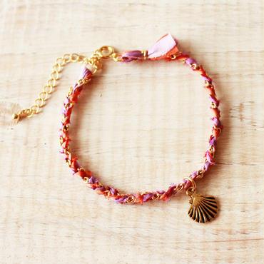 Shell Silk Ribbon Bracelet -Orange × Purple-