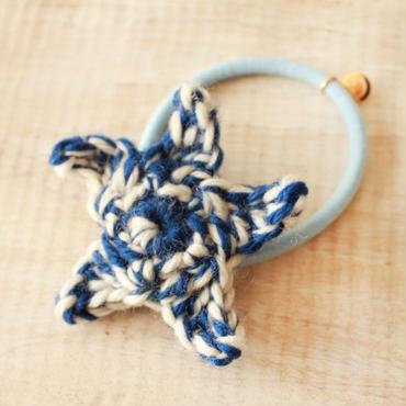 Starfish Knit Hair-gum -Blue-
