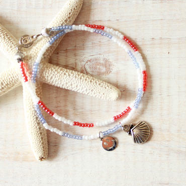 Double Beads Bracelet -Pastel Red×Pastel Blue-