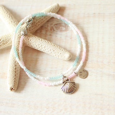 Double Beads Bracelet -Pastel Pink×Pastel Green-