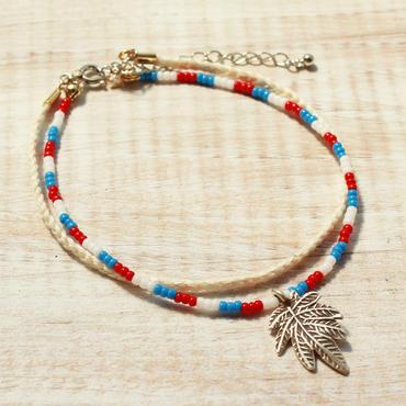 Leaf Charm Anklet Beads -White-