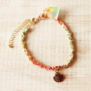 Shell Silk Ribbon Bracelet -Multi Color-