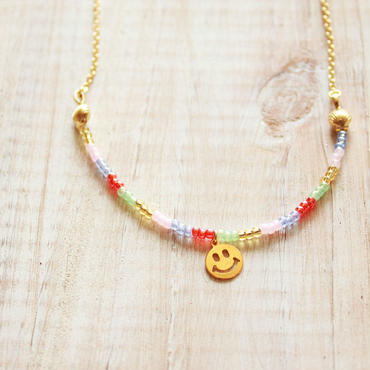 Smile Beads Necklace -Red-