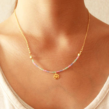 Smile Beads Necklace -PINK-