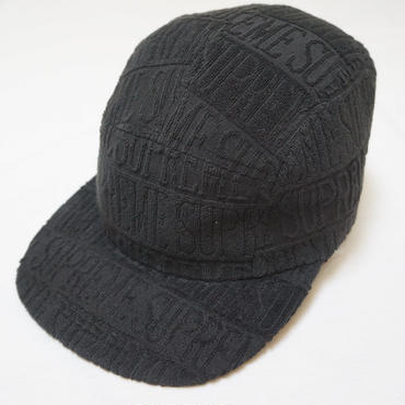 SUPREME CAP  Black Text Stripe Terry