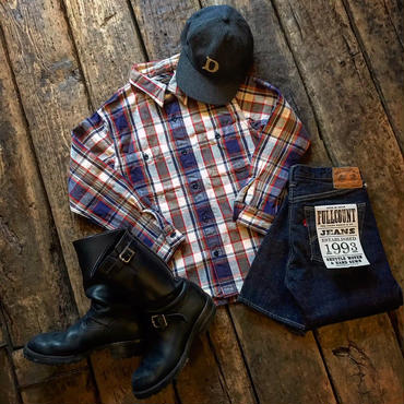 "FULLCOUNT / ORIGINAL CHECK NEL SHIRTS ""SKUNK"""