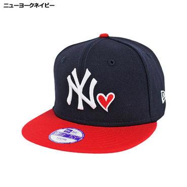 KID193 NEWERA KIDS ニューエラ キッズ MLB ウィズ ハート 9フィフティー スナップバックキャップ ヤンキース、ドジャース (MLB) ブラック、ネイビー