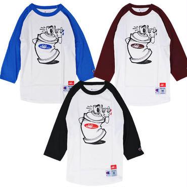 7UN432 7UNION × ASH HUDSON セブンユニオン × アッシュハドソン カン ラグラン Tシャツ チャンピオンエディション ブラック、バーガンディー、ブルー ICASH-011C